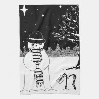 Leuke zwart-witte Kerstmis van het Theedoek