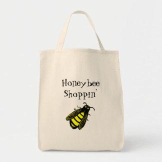 Leuke Zwarte en Gele Honingbij met de Tekst van de Boodschappen Draagtas