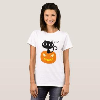 Leuke Zwarte Kat met het Overhemd van Halloween T Shirt