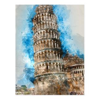 Leunende Toren van Pisa in Italië Briefkaart