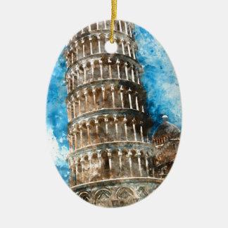 Leunende Toren van Pisa in Italië Keramisch Ovaal Ornament