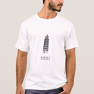 Leunende Toren van Pisa met coördinaten T Shirt