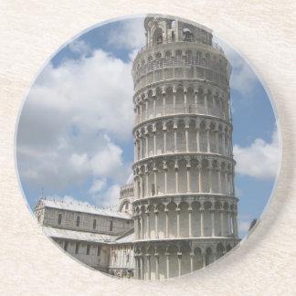 Leunende Toren van Pisa Zandsteen Onderzetter
