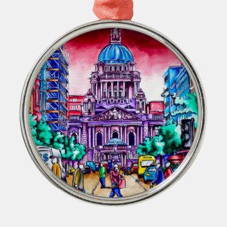 Levend Belfast - Koninklijke Weg Zilverkleurig Rond Ornament