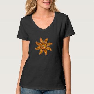 Levend, bewust, wakker stralend zon emoji-woord t shirt