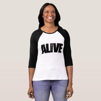 Levend - van 3/4 de zwarte sleeves het t shirt