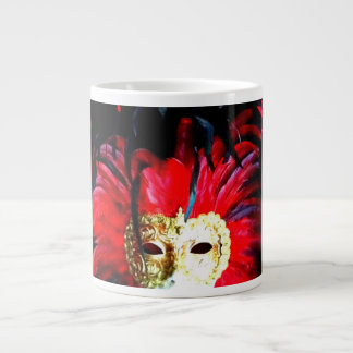 "Levendig Bevederd Masker ""MardiGras"" in rood en Grote Koffiekop"