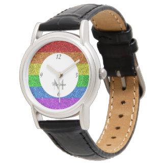 LGBT Monogram van vlag het trillende fonkelingen Horloges
