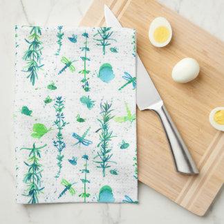 Libellen Rosemary Thyme Herbs Theedoek