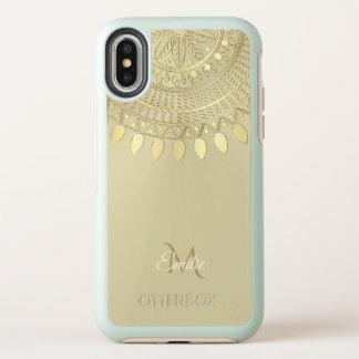 Licht Gouden Half Rond Monogram Mandala OtterBox Symmetry iPhone X Hoesje