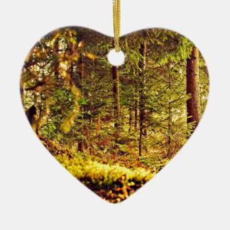 Licht in het Bos Keramisch Hart Ornament