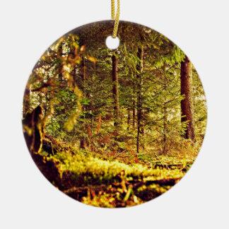 Licht in het Bos Rond Keramisch Ornament