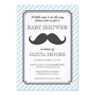 Lichtblauw de dreunbaby shower van de strepen 12,7x17,8 uitnodiging kaart