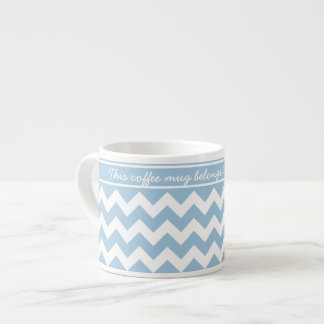 Lichtblauwe en Witte Chevrons Espresso Kop