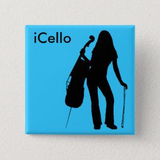 (lichtblauwe) iCelloSpeld Vierkante Button 5,1 Cm