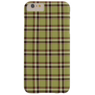 Lichtgroene en Paarse Plaid Barely There iPhone 6 Plus Hoesje