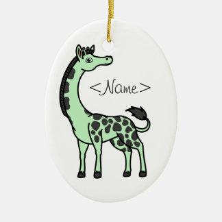 Lichtgroene Giraf met Zwarte Vlekken Keramisch Ovaal Ornament