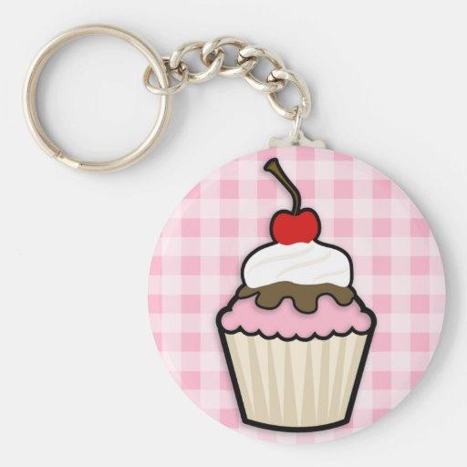 Lichtrose Cupcake Sleutelhanger