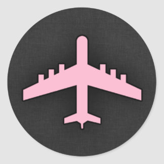 Lichtrose Vliegtuig Ronde Stickers