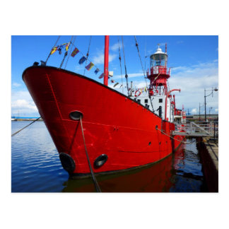 Lichtschip, de Baai van Cardiff, Cardiff, Wales Briefkaart
