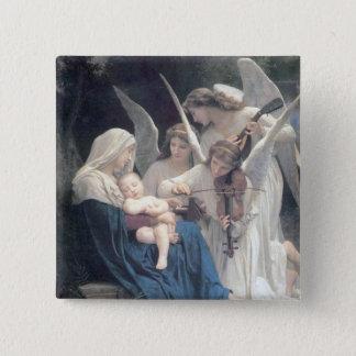 Lied van de engelen antiek het schilderen vierkante button 5,1 cm