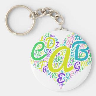 liefde alfabet basic ronde button sleutelhanger