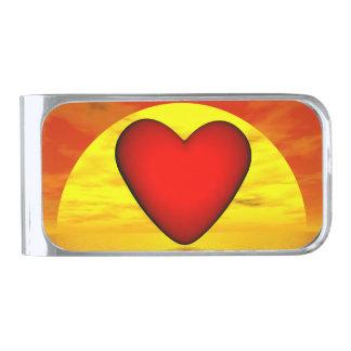 Liefde door 3D zonsondergang - geef terug Verzilverde Geldclip