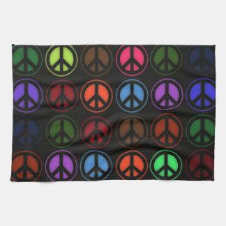 Liefde Hippy van het Teken van de vrede Retro Theedoek