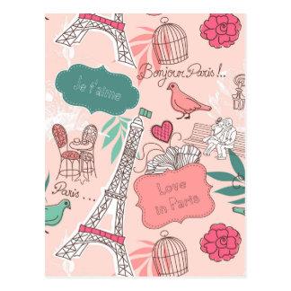 Liefde in het Roze van het Patroon van Parijs Briefkaart