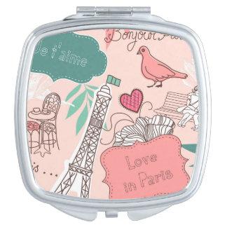 Liefde in het Roze van het Patroon van Parijs Makeup Spiegels