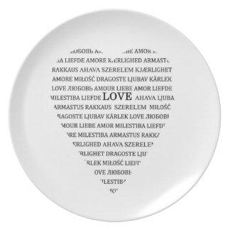 Liefde in verschillende talen bord