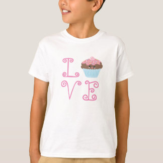 Liefde Leuke Kawaii Cupcake T Shirt