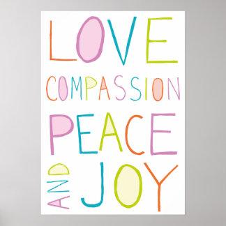 Liefde, Medeleven, Vrede, Vreugde Poster