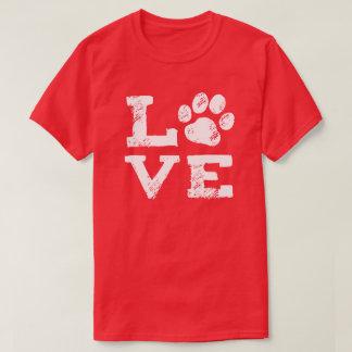 LIEFDE met de Druk van de Poot van de Hond T Shirt