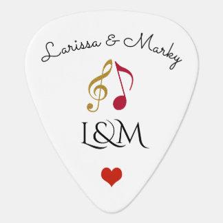liefde & muziek gepersonaliseerde nota's, zijn & plectrum