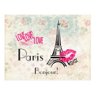 Liefde Parijs met de Toren van Eiffel op Vintage Briefkaart