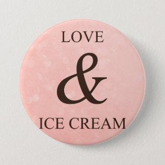 Liefde & roomijs ronde button 7,6 cm