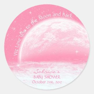 Liefde u aan de Maan & het Achter Roze Baby shower Ronde Sticker