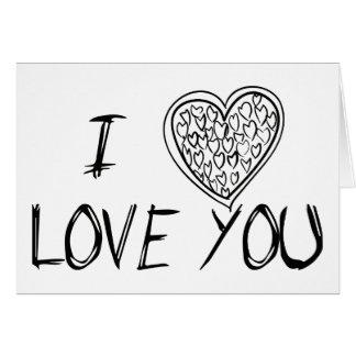 Liefde u Zwarte & Witte Harten - Huwelijk Briefkaarten 0