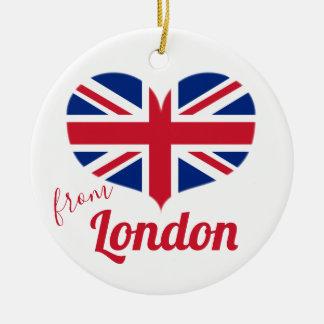 Liefde van Londen   Hart Gevormde Britse Vlag Rond Keramisch Ornament