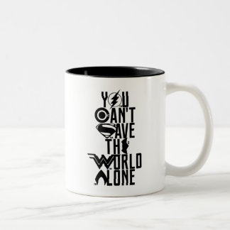 Liga | van de rechtvaardigheid u kan niet de tweekleurige koffiemok