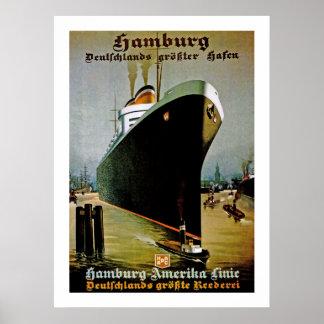 Lijn Hamburg-Amerika Poster