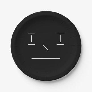 Lijn Smiley Ernstige Eenvoudige Witte Zwarte Papieren Bordje