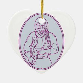 Lijn van het Kostuum van Haz Chem van de arbeider Keramisch Hart Ornament