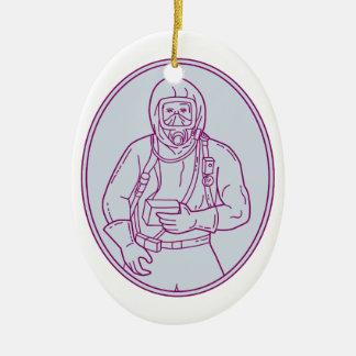 Lijn van het Kostuum van Haz Chem van de arbeider Keramisch Ovaal Ornament