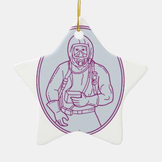 Lijn van het Kostuum van Haz Chem van de arbeider Keramisch Ster Ornament