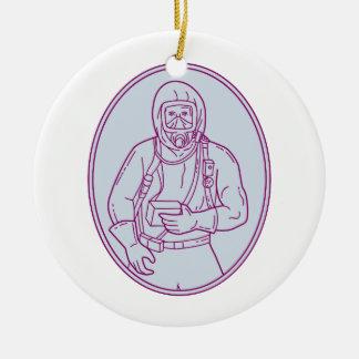 Lijn van het Kostuum van Haz Chem van de arbeider Rond Keramisch Ornament