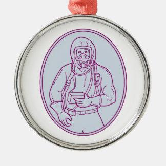 Lijn van het Kostuum van Haz Chem van de arbeider Zilverkleurig Rond Ornament