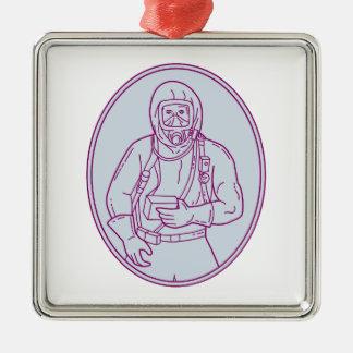 Lijn van het Kostuum van Haz Chem van de arbeider Zilverkleurig Vierkant Ornament
