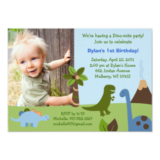 Lil Dino Dinosaur Custom Birthday Invitations 12,7x17,8 Uitnodiging Kaart